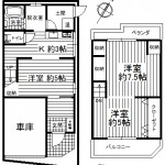 車庫:幅2.5m×奥行3.5m×高さ2.1m